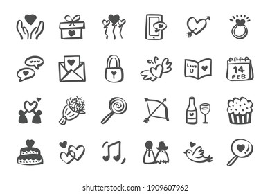 Valentines day love icon set Hand drawn doodle icons