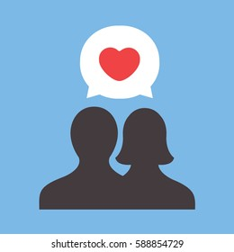 Valentines Day love  illustration. with vector user avatar icon and bubble with heart on flat design. i love you with two silhouette people modern