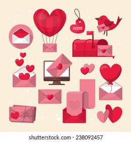 valentines day love letter and email icons design