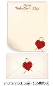 Valentine's Day, Love Letter Template with Heart Shaped Seal. Vector Eps10 Design Ready for Your Text, Design and Print.