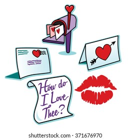 Valentines day love letters and red lipstick kiss mark