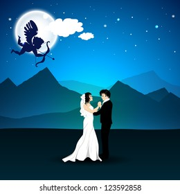 Valentines Day love night background with cupid taking aim on newly married couple. EPS 10.