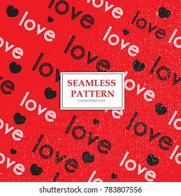 Valentines Day Love Pattern. Seamless pattern of Love Text. Vector Illustration eps.10