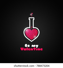 valentines day love potion logo on black background