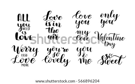 Valentines Day Love Quotes Lettering Motivational Stock Vector