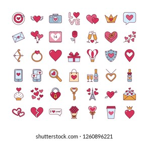 Valentine's day. Love. Set of cute isolated icons. Vector