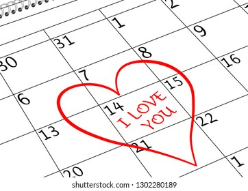 Valentine`s Day I love You Calendar Page with Heart