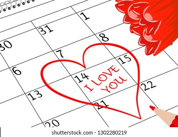 Valentine`s Day I love You Calendar Page with Heart Flowers and Pencil