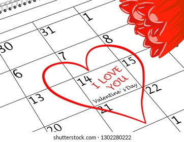 Valentine`s Day I love You Calendar Page with Heart and Flowers