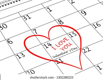 Valentine`s Day I love You Calendar Page with Heart and writing
