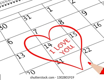 Valentine`s Day I love You Calendar Page with Heart and Pencil