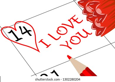 Valentine`s Day I love You with Flowers and Pencil