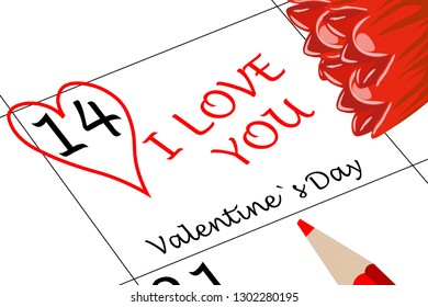 Valentine`s Day I love You with Heart Flowers and Pencil