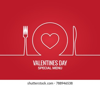 Valentines day menu. Fork and knife with plate line. Restaurant menu on red background