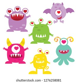 Valentine's day monsters vector illustration clip art