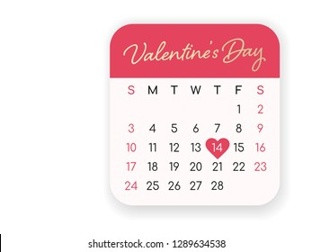 Valentines day monthly calendar with heart shape on 14th February 2019 in pastel color soft pink and red isolated on white background for label, banner or  design elements vector.