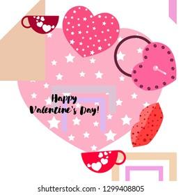 Valentine's Day, mug, lock, lips, heart, vector background