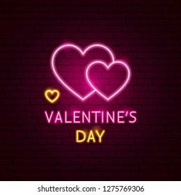 Valentine's Day Neon Label. Vector Illustration of Romance Promotion.