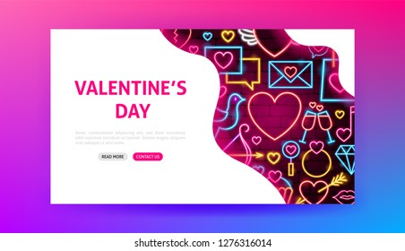 Valentine's Day Neon Landing Page. Vector Illustration of Romance Web Banner.