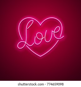 Valentines Day neon sign. Vector background.