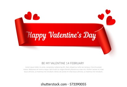 Valentines day paper curl ribbon banner, realistic vector illustration