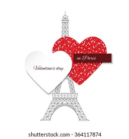Card Template With Hearts And Eiffel Tower