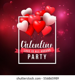Valentine's day party and balloon heart shape