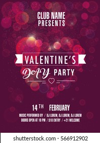 Valentine's Day party . Beautiful backdrop with bokeh heart . Vector illustration with lights. Invitation to club. Vector illustration EPS10