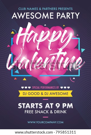 Valentines Day Party Club Event Flyer Designs Layout Template