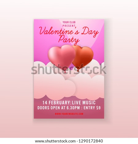 8136842108 Valentine's Day Party couple heart background invitation Flyer template  design.vector