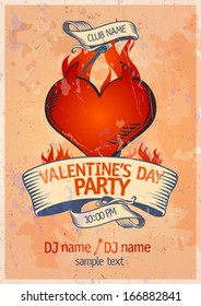Valentine`s Day Party design template with burning heart.