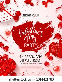 Valentine's Day party flyer. Beautiful backdrop with with gift boxes in heart shape, rose petals and serpentine. Invitation to nightclub.Vector illustration