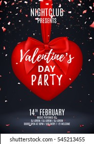 Valentine's Day party flyer. Beautiful backdrop with red heart and bow on tape. Vector illustration with lights confetti. Invitation to nightclub.