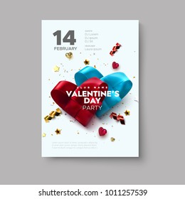Valentines Day party flyer. Couple of woven hearts made of silk ribbon with sparkling confetti glitters and stars. Vector holiday illustration. Love concept. Romantic music event invitation design