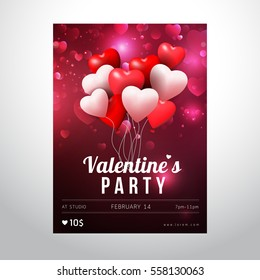 Valentines Day Party Flyer Design. Vector template of invitation card or flyer and poster.
