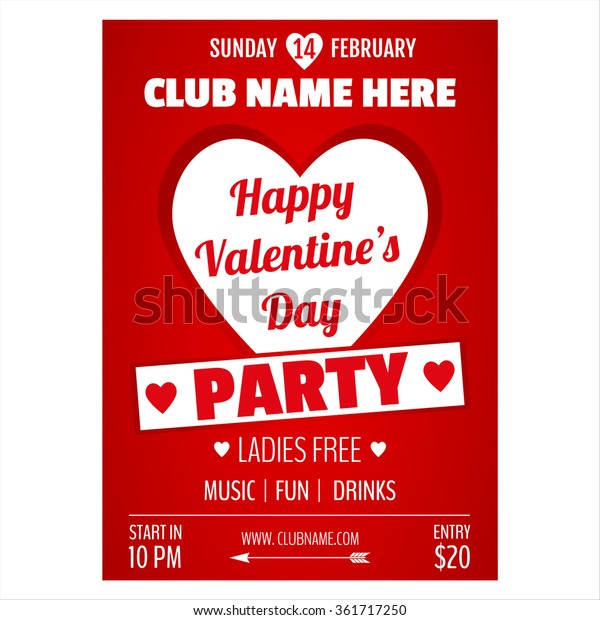 Valentines day party flyer design.