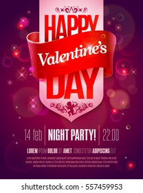 Valentines Day party flyer with hand made lettering. Valentines Day Vector illustration. Valentine's Day art, Valentine Day greeting card