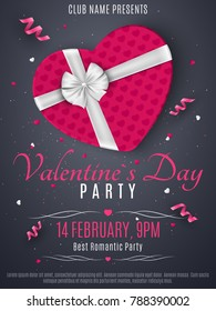 Valentines Day party flyer. Purple box from the heart and a white ribbon with a bow. Romantic composition on a dark background. Confetti of hearts. Invitation to the club. Vector illustration.