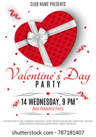 Valentines Day party flyer. Red box from the heart and a white ribbon with a bow. Romantic composition on a white background. Confetti of hearts. Invitation to the club. Vector illustration.