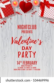 Valentine's Day party flyer. Top view on gift boxes and red case for ring. Beautiful backdrop with candles, confetti and serpentine on wooden texture. Vector illustration. Invitation to nightclub.