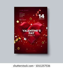 Valentines Day party flyer. Woven origami heart made of silk ribbon with sparkling confetti glitters and stars. Vector holiday illustration. Love concept. Romantic music event invitation design