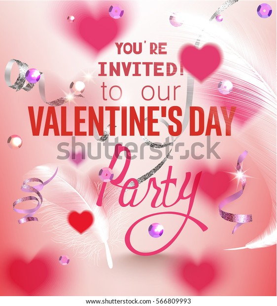 Valentines Day Party Invitation Card Sequins Stock Vector
