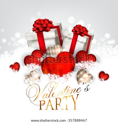 Valentines Day Party Invitation Gift Box Stock Vector Royalty Free