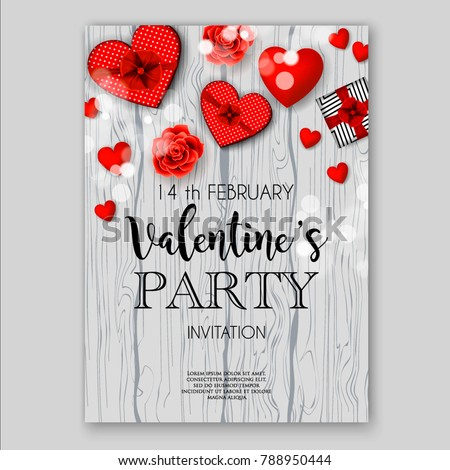Valentines Day Party Invitation Heart Wedding Stock Vector Royalty