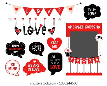 Valentines day party photo booth props. Candy and kisses booth. Love bunting. Speech bubble with text. Selfie photobooth.