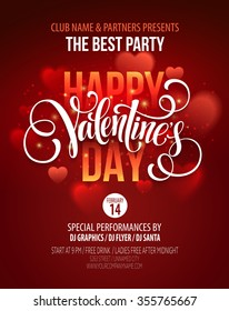 Valentines Day Party Poster Design. Template of invitation, flyer, poster or greeting card. Vector illustration EPS10