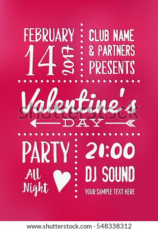 Valentines Day Party Poster Design Typographic Vector Illustration Template For Disco Invitation Flyer