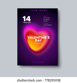 Valentines Day party poster mockup. Romantic party invitation. Holiday banner with fluid gradient color heart. Vector illustration. Club flyer template. Modern cover design