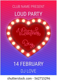 Valentines Day party poster template with shiny heart sign. Valentines Day banner for holiday event