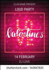 Valentines Day party poster template with shiny lettering and calligraphy.